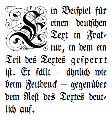 An example of sperrsatz. Note wider spacing of the word gesperrt ( letterspaced ).