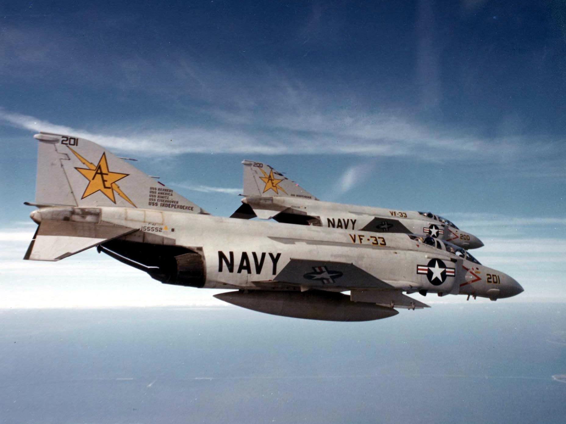 File:F-4J Phantom IIs VF-33 in flight 1979.jpg - Wikimedia Commons