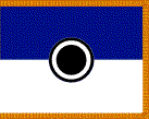 A blue and white flag with gold trim, with the division insignia on it.
