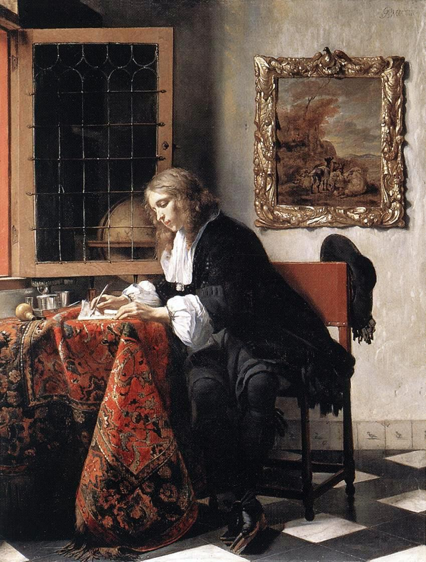 Man Writing A Letter, Gabriel Metsu, from Wikipedia