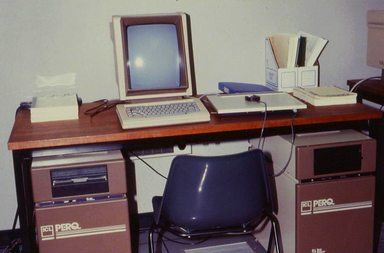 Two ICL PERQ 1 workstations