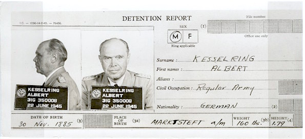Kesselring id photos, facing forward and in profile