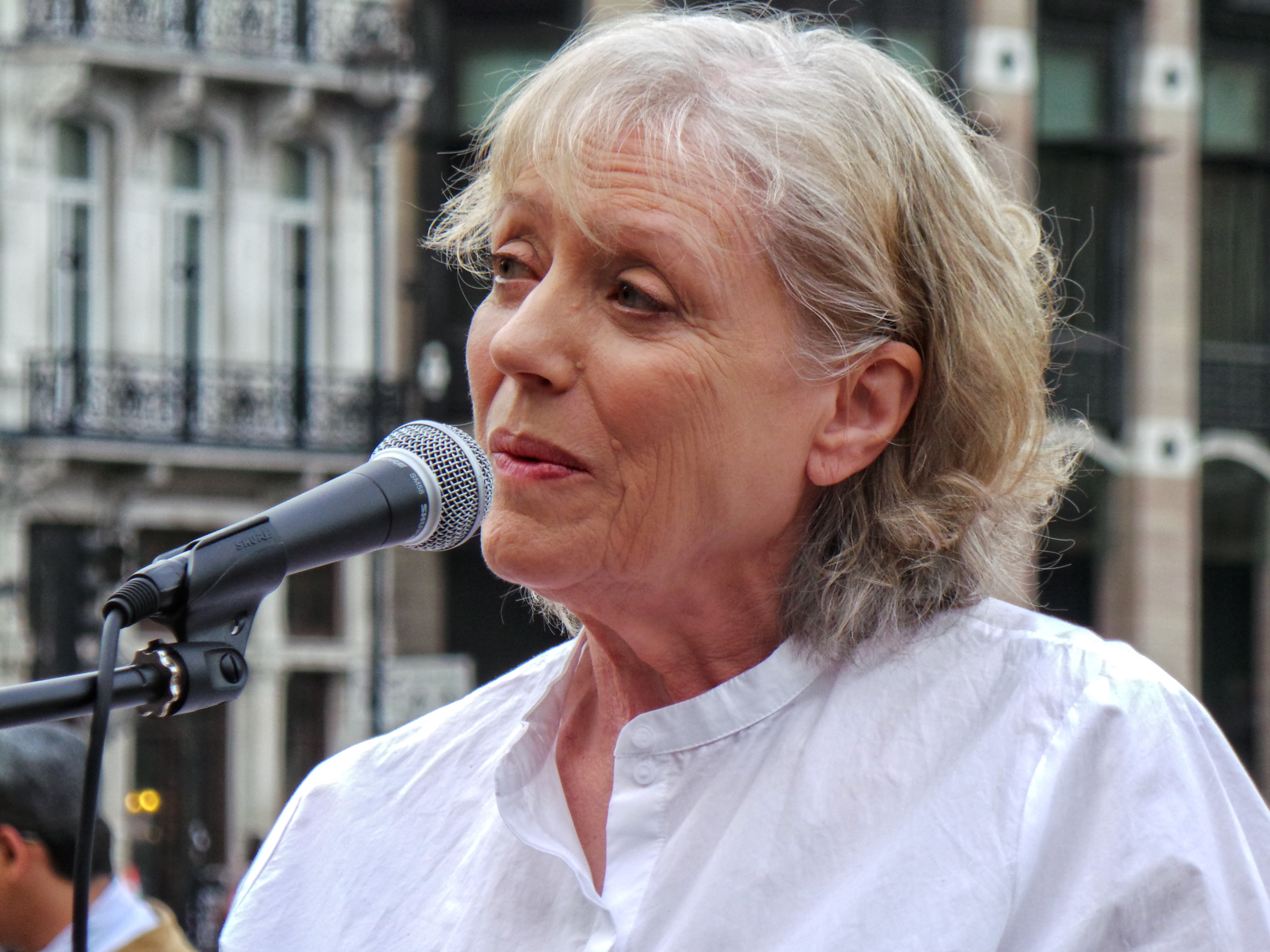 Kika Markham speaking at the No More War event in 2014
