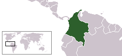 World locator map with Colombia highlighted in green.