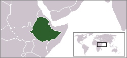 World locator map with Ethiopia highlighted in green.