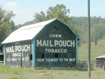 Mail Pouch Barn advertisement: a bit of Americana in southern Ohio. Mail Pouch painted the barns for free. Mailpouch8466.jpg