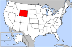 Mapa ning Estadus Unidus Wyoming highlighted