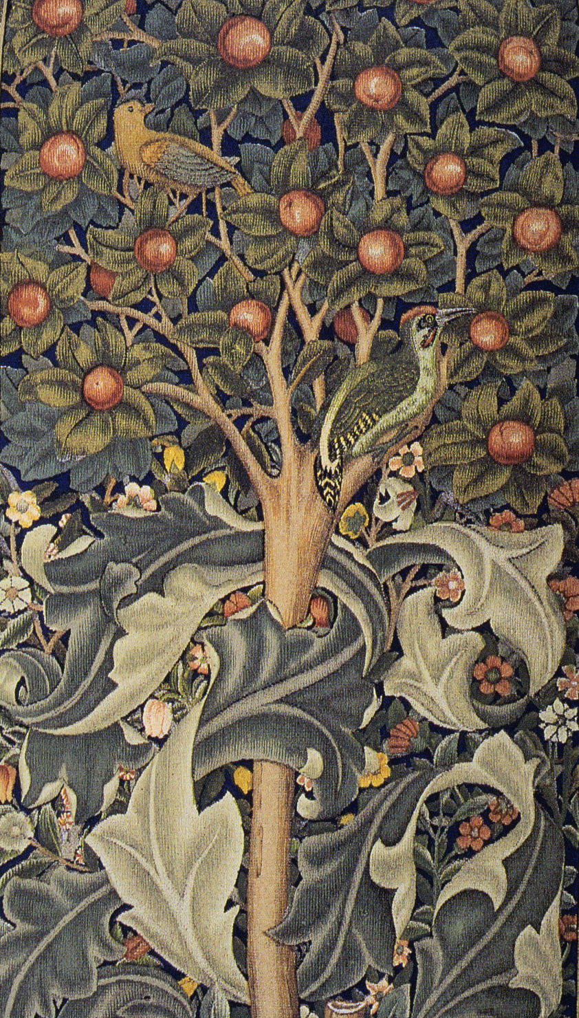 Detail of Woodpecker tapestry designed by William Morris (1885)