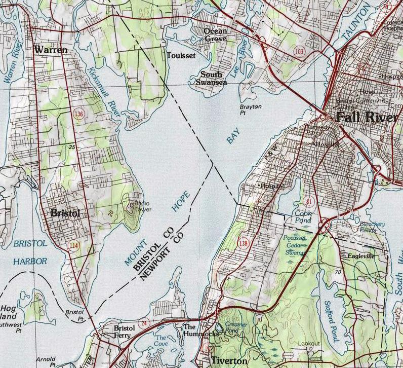 Map of Narragansett Bay Mount Hope Bay Usgs Map Jpg