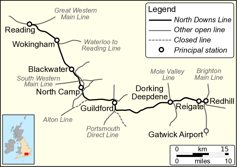 south western main line map North Downs Line Wikipedia south western main line map