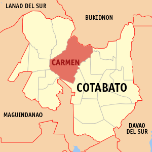 Map of Cotabato showing the location of Carmen