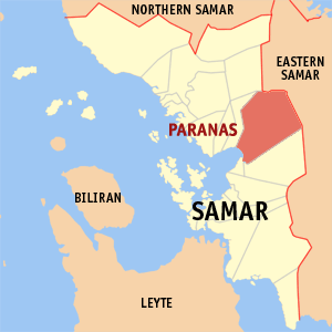 Map of Samar showing the location of Paranas
