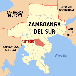 Map of Zamboanga del Sur showing the location of Guipos