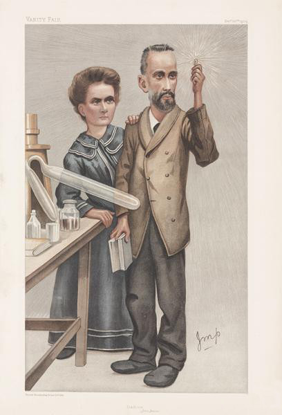 Caricature of Pierre and Marie Curie