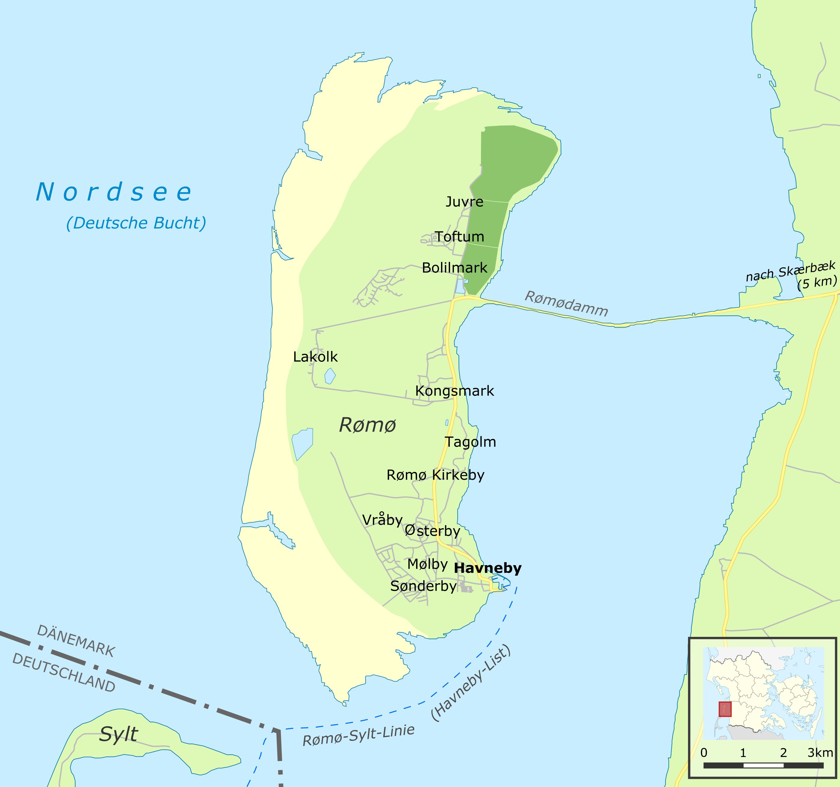 Dänemark Nordseeküste Karte.Rømø Wikipedia
