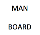 Example of a rebus puzzle. Answer: man overboard.