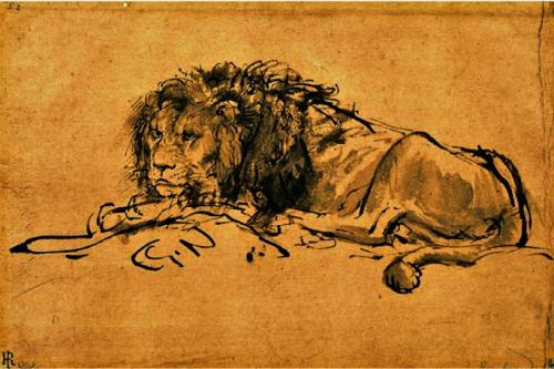 Art et ressenti Rembrandt-A-Lion-Lying-Down-207063