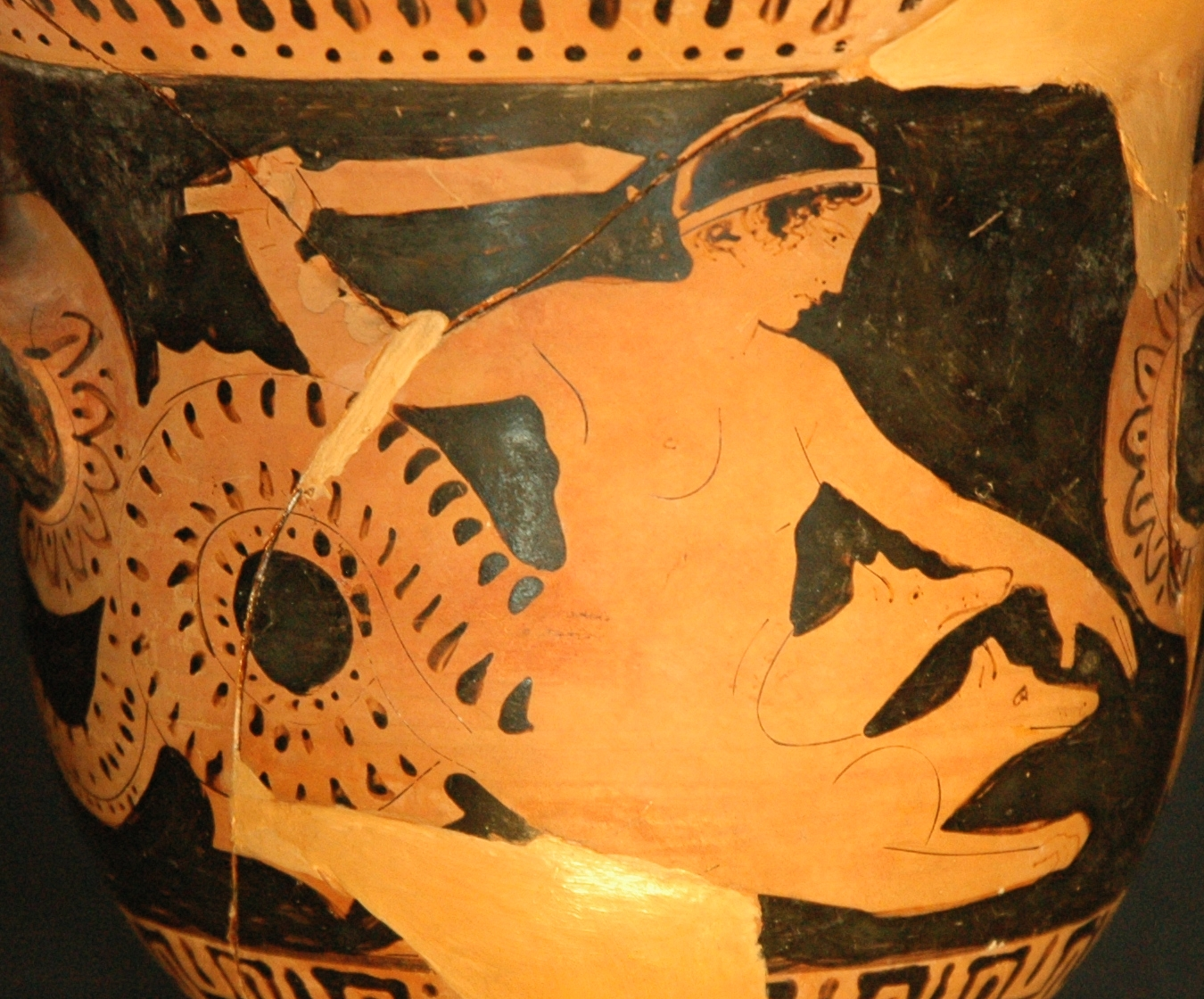 Scylla. Detail from side A from a Boeotian red-figure bell-crater, 450–425 BC, By Jastrow (photographer), via Wikimedia Commons