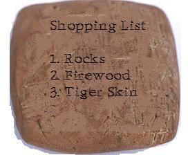 English: Shopping list chiseled on a rock.