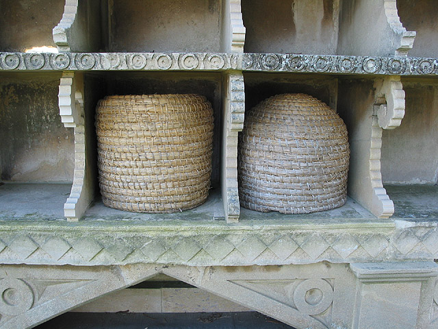File:Skeps in the bee shelter at Hartpury - geograph.org.uk - 686836.jpg