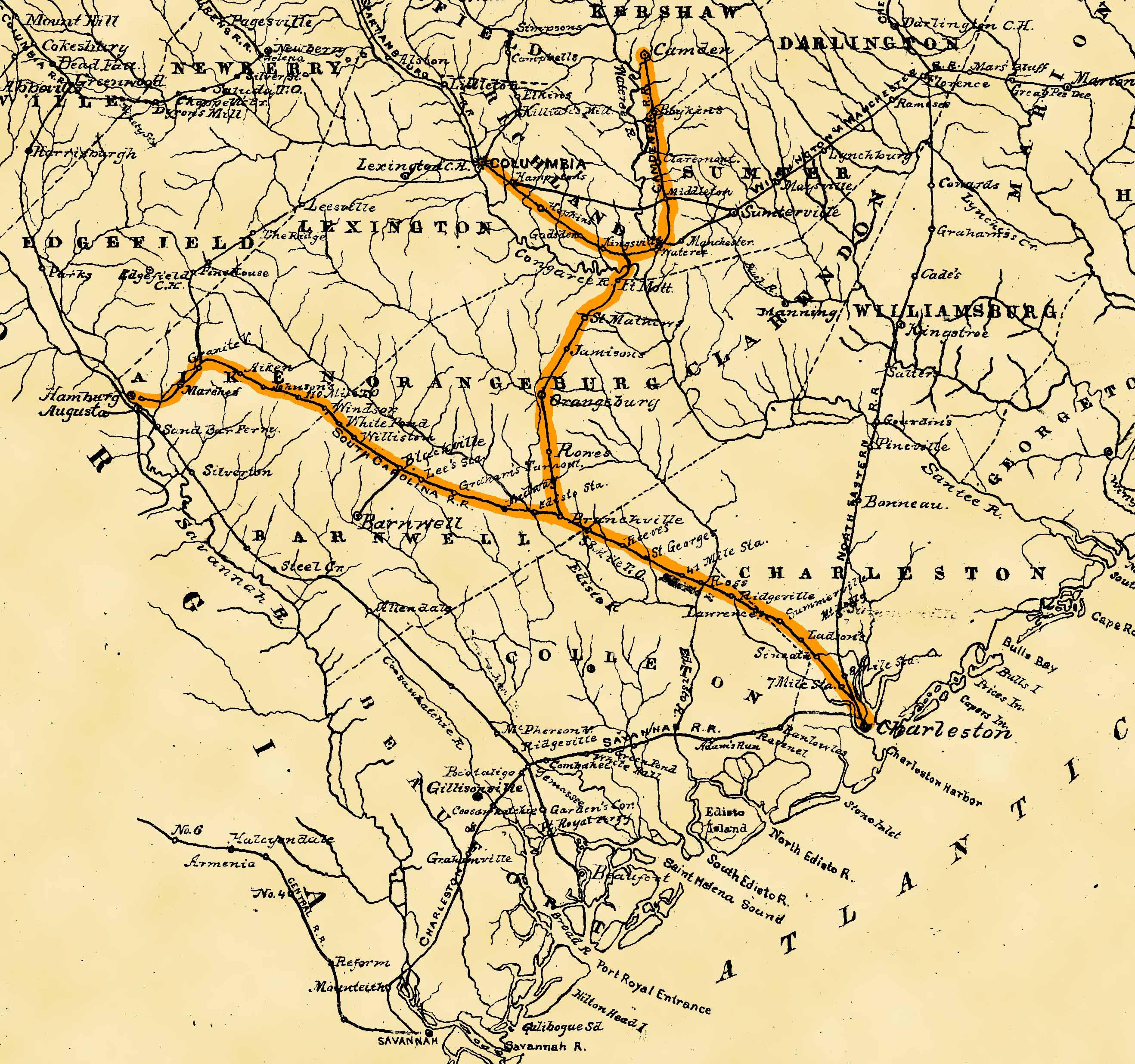 February   Sherman Takes The SC Railroad Seven Score And Ten - Us railroad map 1865