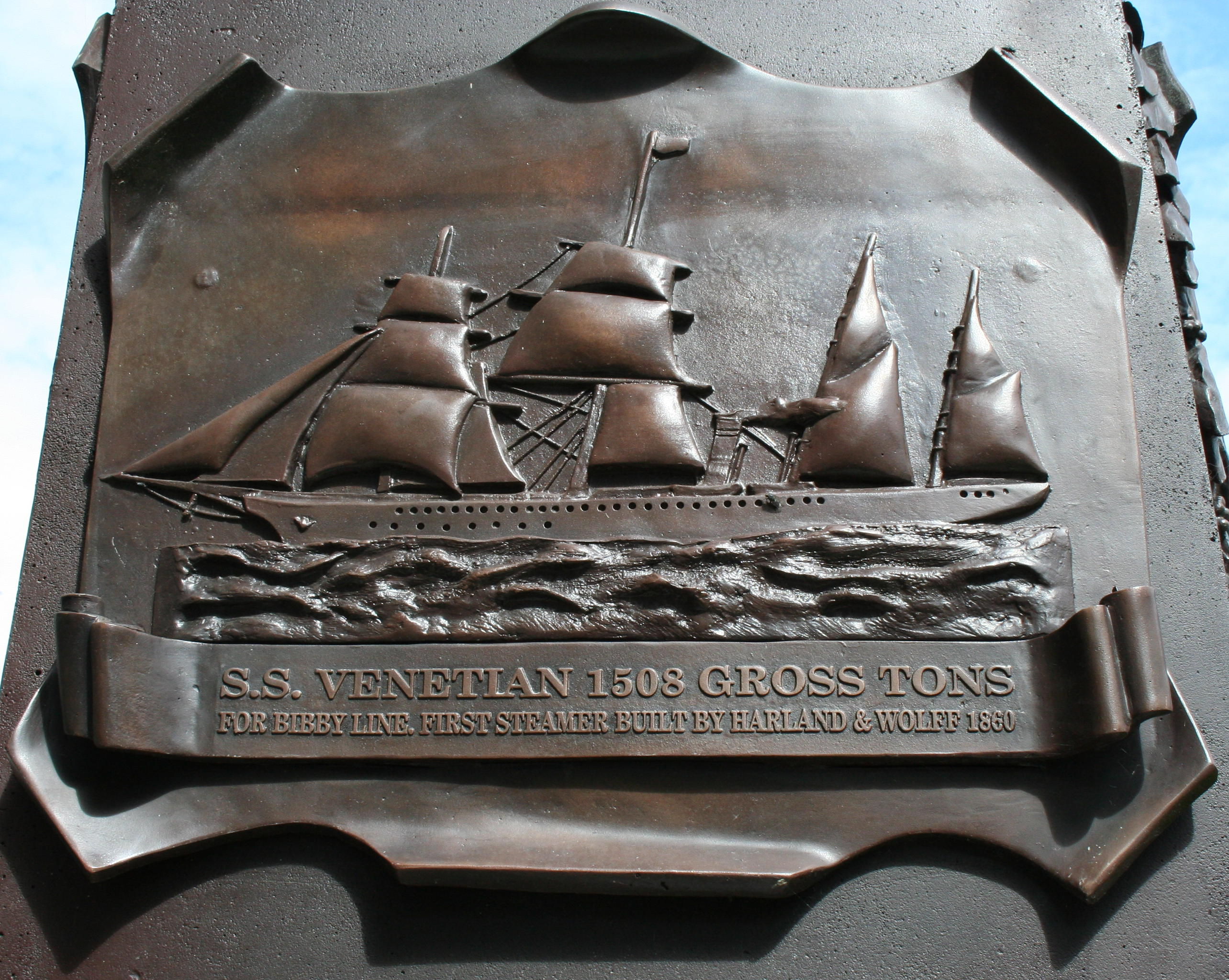 SS Venetian - the first steamer built by Harland & Wolff 1860 - a plaque on the William James Pirrie monument, grounds of Belfast City Hall.