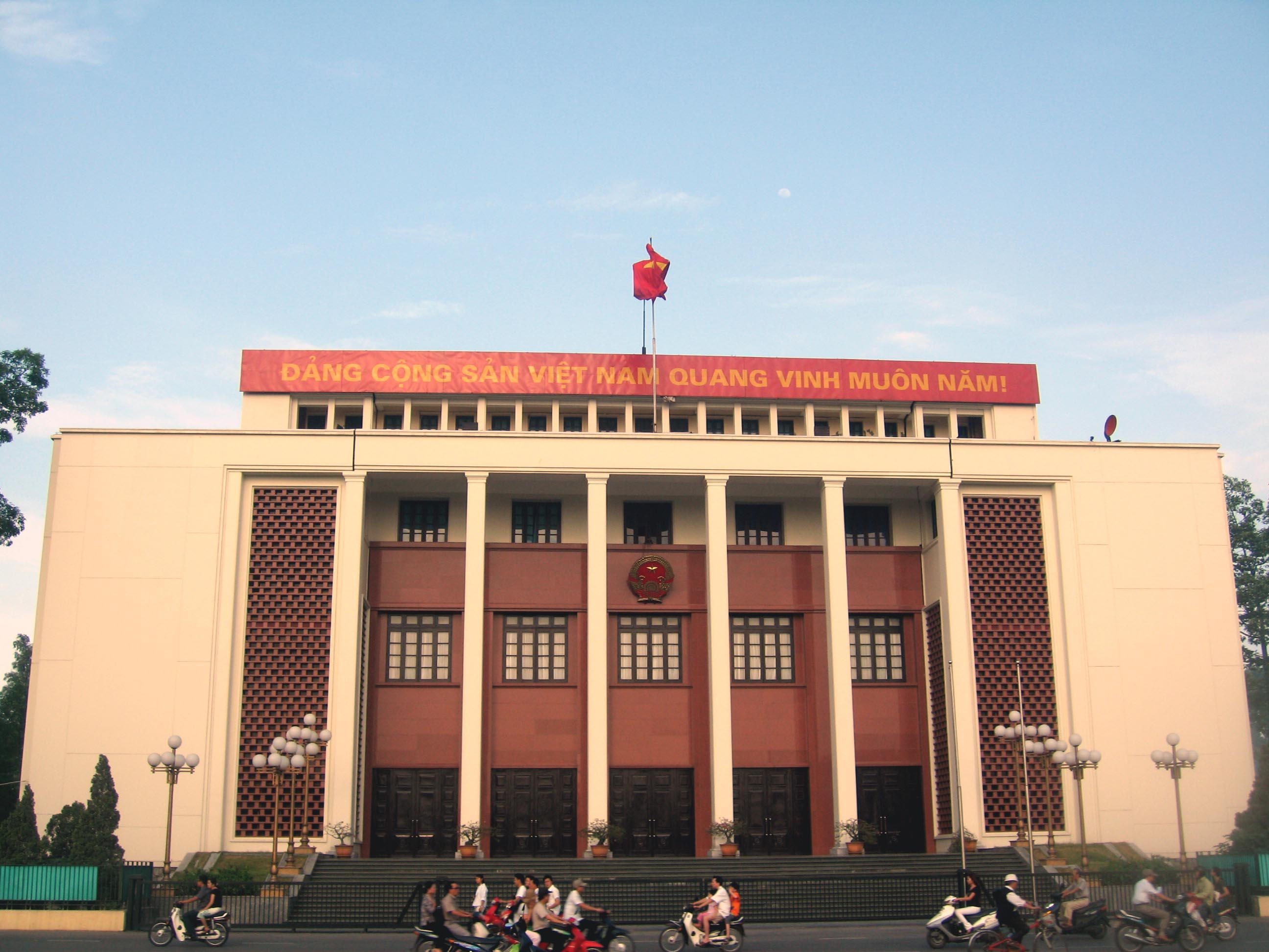 The banner above the National Assembly building in Hanoi, Vietnam reads