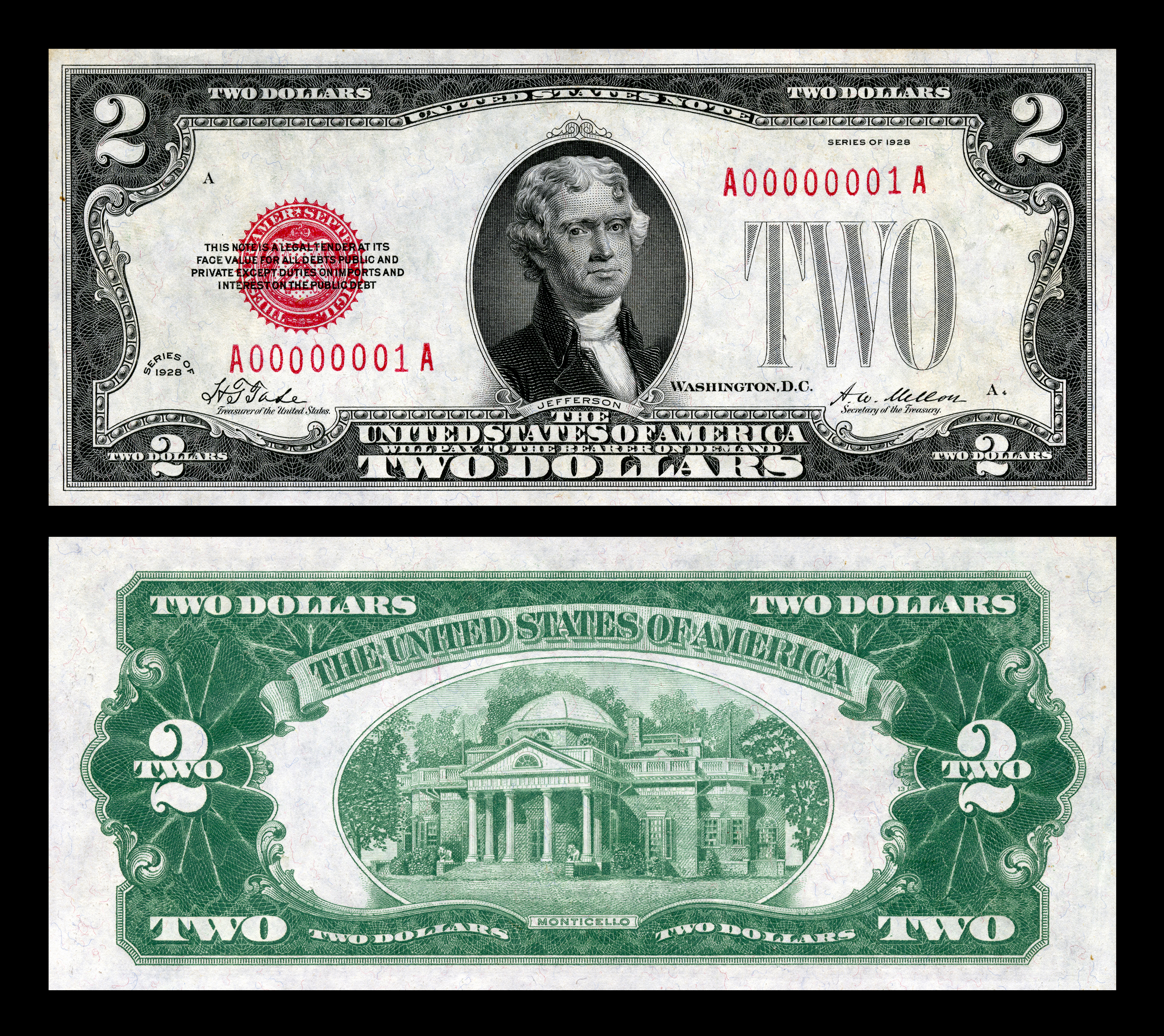united states two dollar bill  small size edit