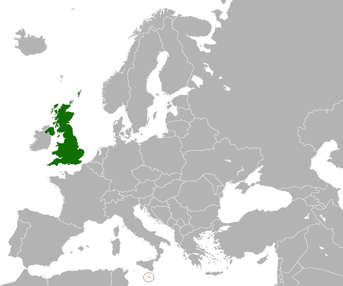 Map indicating locations of United Kingdom and Malta