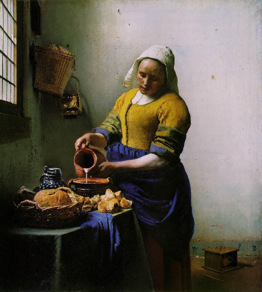 La laitière de Vermeer (1660). Un autre chef d'oeuvre du Rijksmuseum.