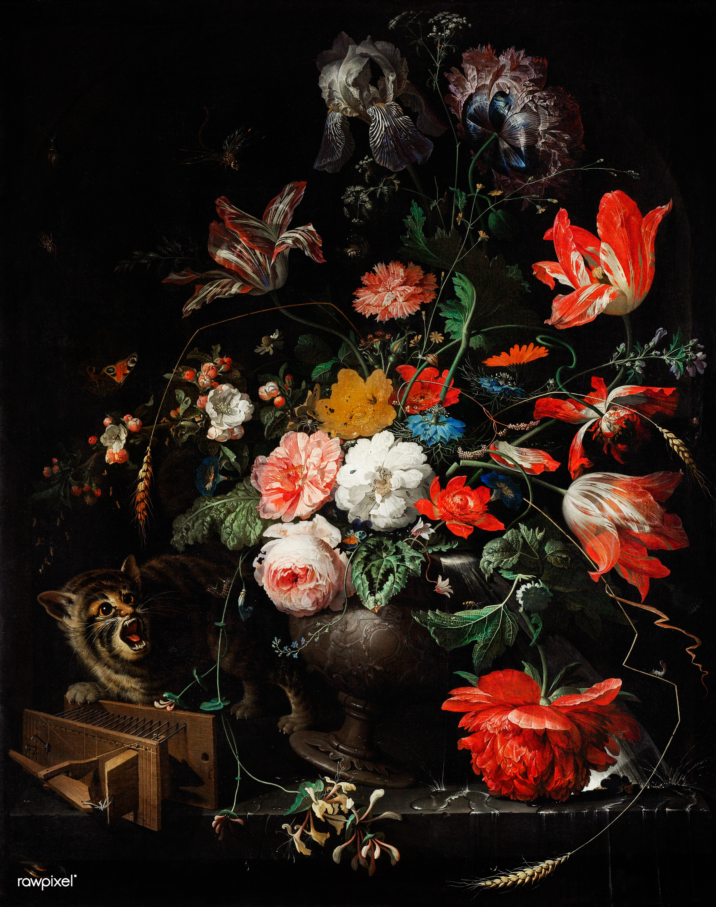 Filevintage Still Life Of Flowers By Abraham Mignon