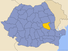 Administrative map of Руминия with Вранчеа county highlighted