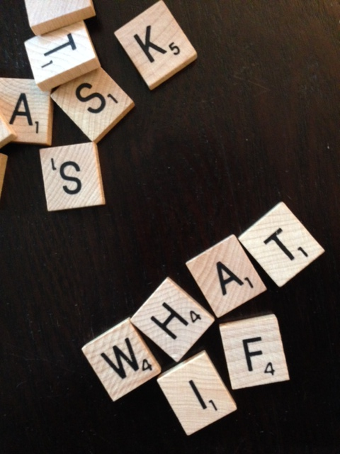 "Scrabble Tiles that say ""What If"""