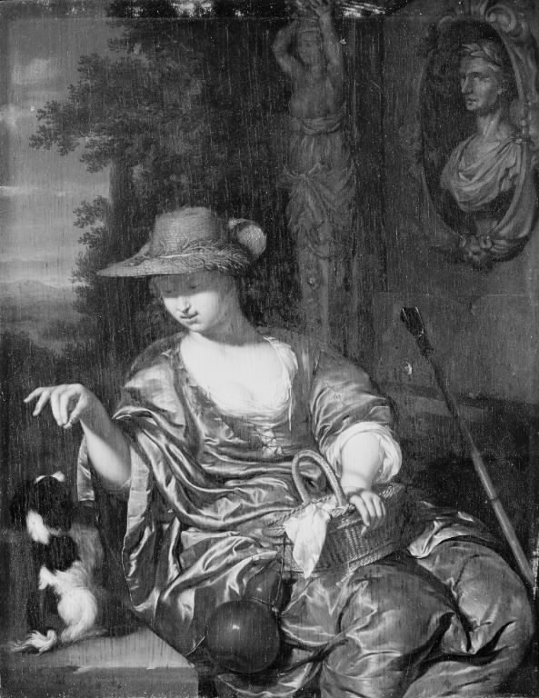 A Shepherdess with a Dog