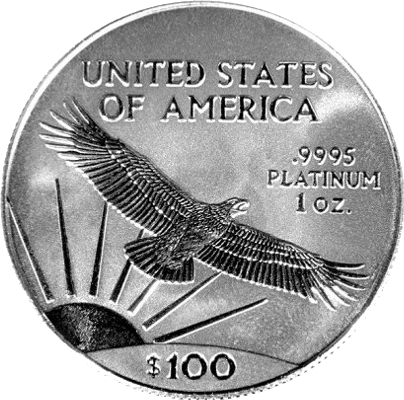 reverse side of the 1997 American Platinum Eagle proof coin