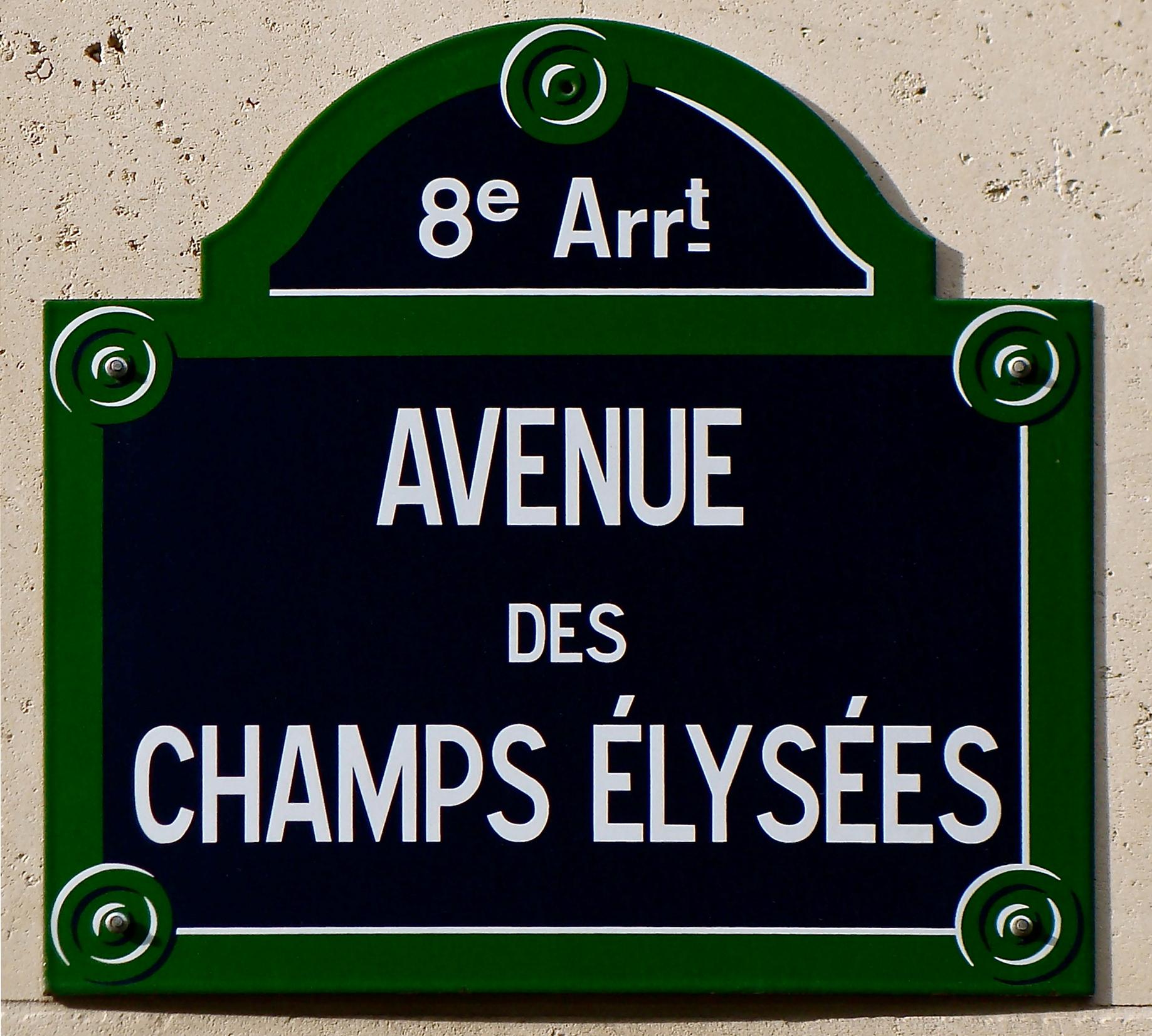 Avenue des chs élysées street sign paris france 20100619