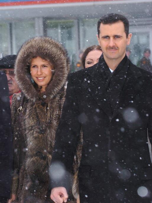 Bashar y Asma al Asad, en Moscú, en 2005