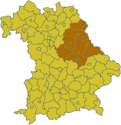 Map of Bavaria highlighting the  Regierungsbezirk of Upper Palatinate