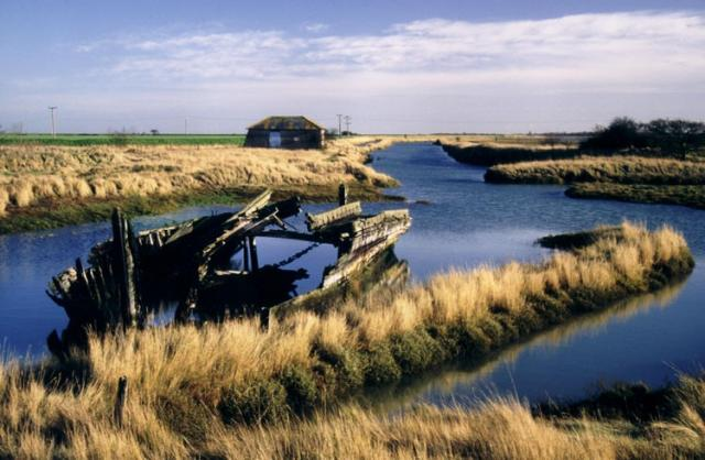 The wreck of the Rose, a Thames sailing barge registered at Maldon, lies by the abandoned quay at Beaumont-cum-Moze. Barges regularly took Essex hay and other produce to London, but now the cutting leading through the marshes to the open sea has silted up. The quay itself is made from stones brought from a former London Bridge.