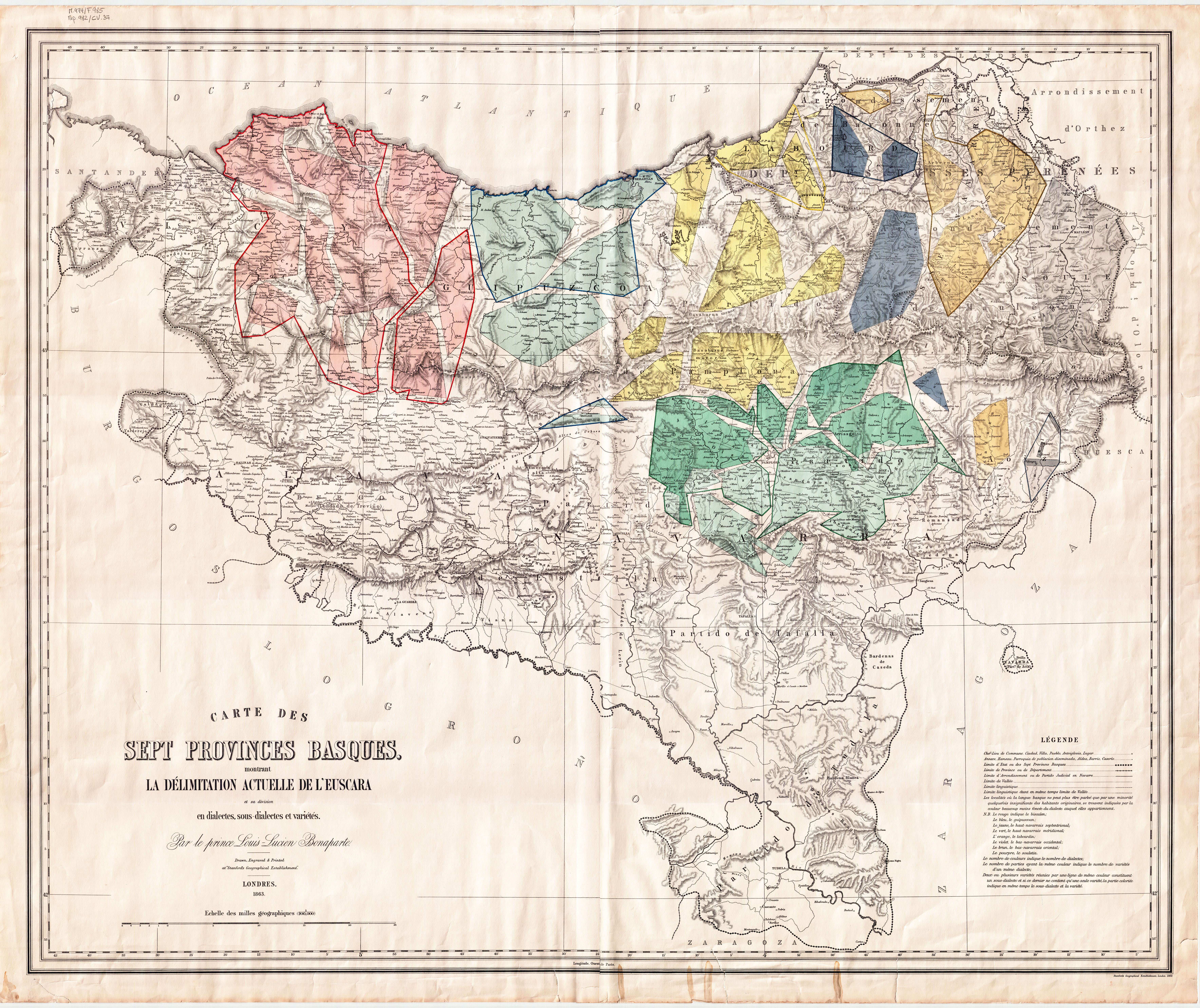 Nacionalismo vasco, los comunistas no deben apoyarlo.  Bonaparte_euskalki_mapa