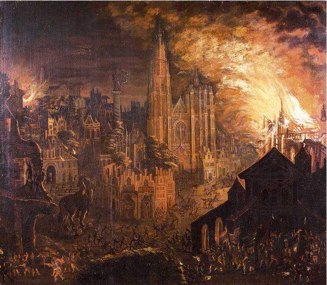 Brand van Antwerpen met het Paard van Troje