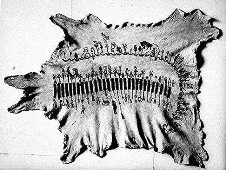Animal hide decorated with pictograms. Kiowa winter count by Anko, covers summers and winters for 37 months, 1889-92, ca. 1895. National Archives and Records Administration