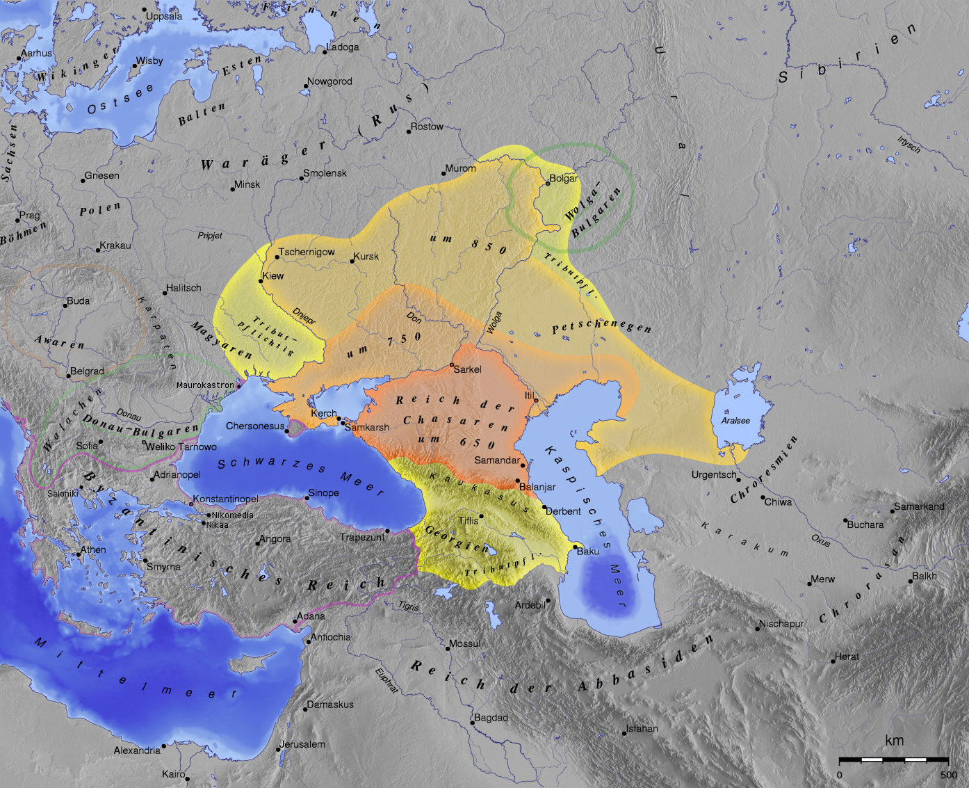 German Map of the Khazar Khaganate (650-850)