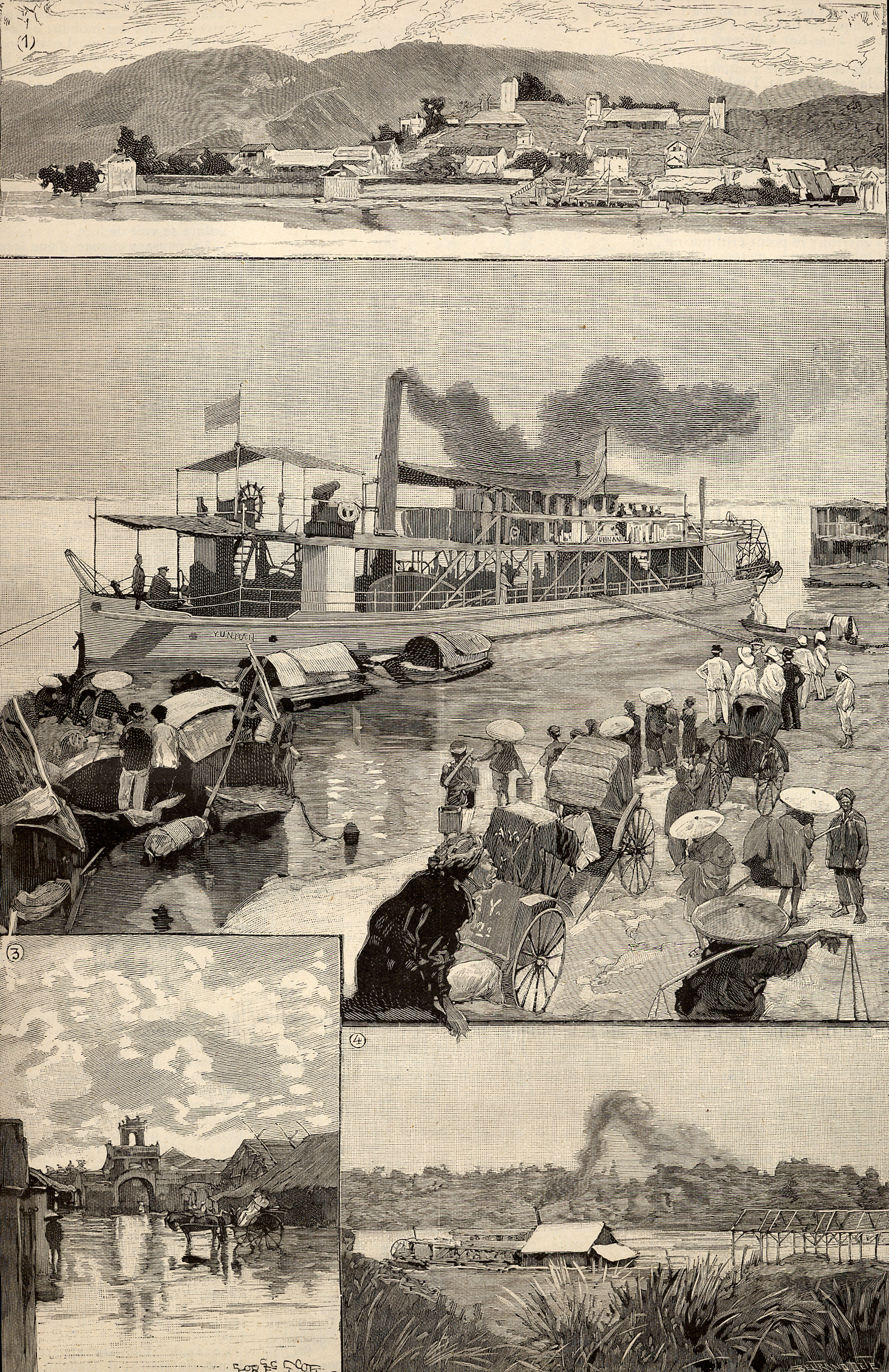 French colonies in 1891 (from Le Monde Illustr ). 1. Panorama of Lac-Ka , French outpost in China. 2. Yun-nan, in the quay of Hanoi. 3. Flooded street of Hanoi. 4. Landing stage of Hanoi