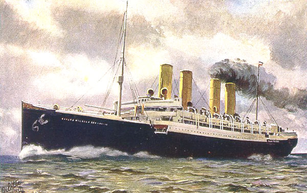 Colour drawing of the SS Kaiser Wilhelm der Grosse by an unknown painter