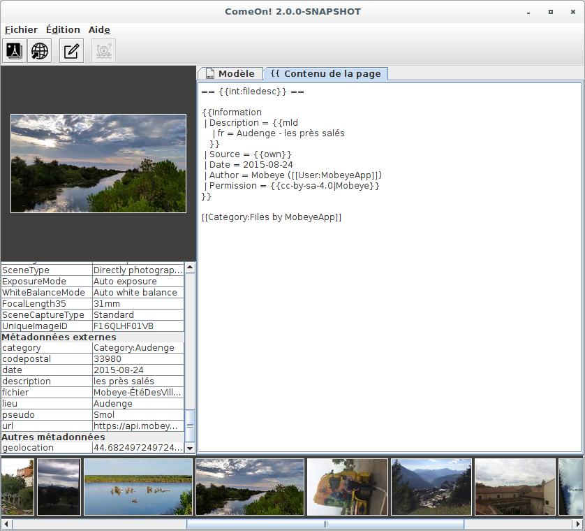 Prévisualisation de la page de description utilisant des données externes.