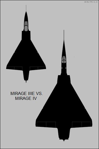 Dassault Mirage IIIE and Mirage IV top-view silhouette comparison.png