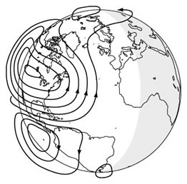 Electric currents created in sunward ionosphere.