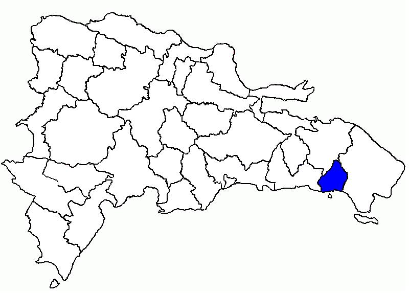 Mapa de La Romana en la República Dominicana