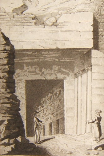 Entrance to a royal tomb, drawn in 1821 Entrance to one of the Royal Tombs at Thebes.png